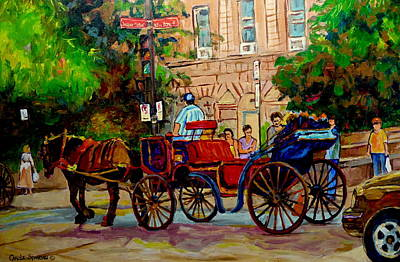 Popular Quebec Artists Carole Spandau Painter Of Scenes De Rue Montreal Street Scenes Print by Carole Spandau