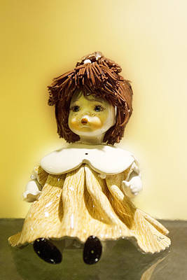 Porcelain Doll In Yellow Original by Linda Phelps