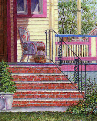 Rocking Chairs Painting - Porch With Basket by Susan Savad