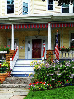 American Flag Photograph - Porch With Front Yard Garden by Susan Savad
