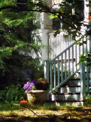 Chrysanthemum Photograph - Porch With Urn And Pumpkin by Susan Savad