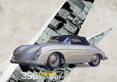 Boxer Digital Art - Porsche 356 Speedster by Yurdaer Bes