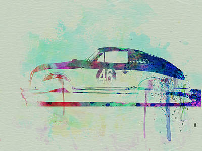 Old Car Drawing - Porsche 356 Watercolor by Naxart Studio