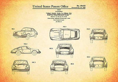 Porsche 911 Patent Print by Mark Rogan