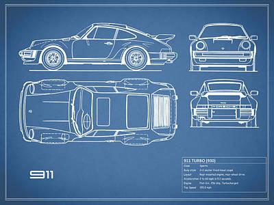 Porsche 911 Photograph - The 911 Turbo Blueprint by Mark Rogan
