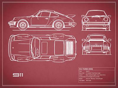 Porsche 911 Turbo Blueprint - Red Print by Mark Rogan