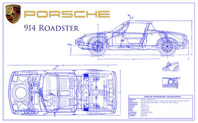 Porsche 914 Blueprint Print by Jon Neidert