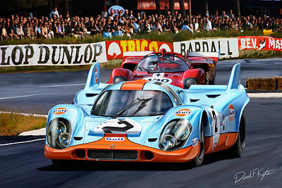 Le Mans 24 Digital Art - Porsche 917 At Le Mans by David Kyte