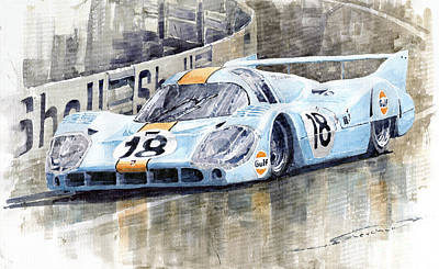 Team Painting - Porsche 917 Lh 24 Le Mans 1971 Rodriguez Oliver by Yuriy  Shevchuk