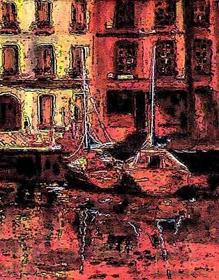 Sailboats Digital Art - Port Jaune In Digital Art by Mario Perez
