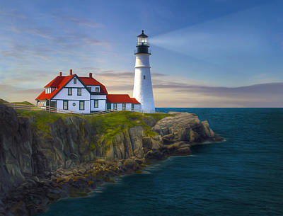 Sunrise Painting - Port Lighthouse by James Charles