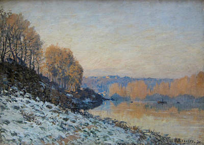 Hoarfrost Painting - Port Marly, Hoarfrost  by Alfred Sisley
