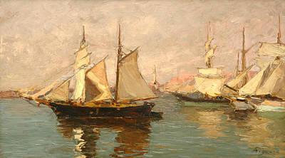 Genoa Painting - Port Of Genoa by Andrea Figari