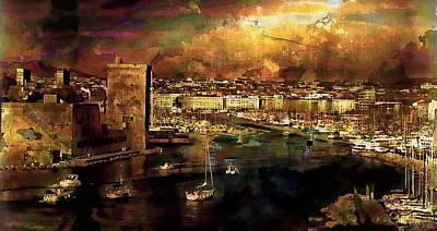 The Old Port Of Marseille Print by Jean Francois Gil