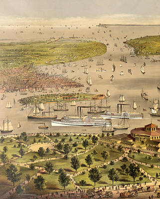 Port Of New York, Birds Eye View From The Battery Looking South, Circa 1878 Print by Currier and Ives
