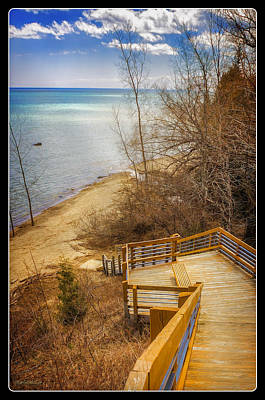 Boats Photograph - Port Sanilac Scenic Turnout Stairs by LeeAnn McLaneGoetz McLaneGoetzStudioLLCcom