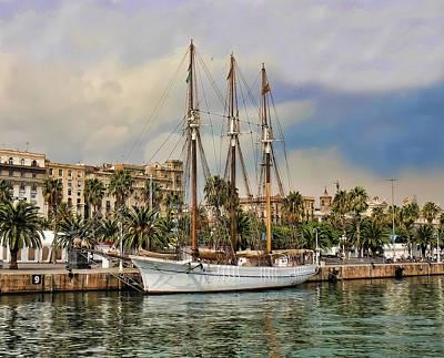 Port Vell  Near Barcelona Harbour Print by Alex Hardie