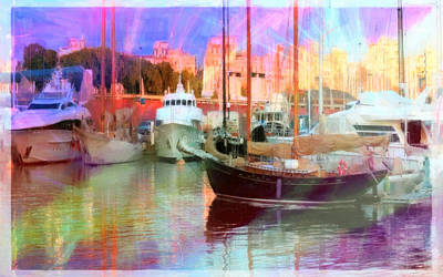 Summer Painting - Port With Fishing Boats by Lanjee Chee