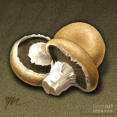 Mushroom Drawing - Portabello Mushrooms by Marshall Robinson