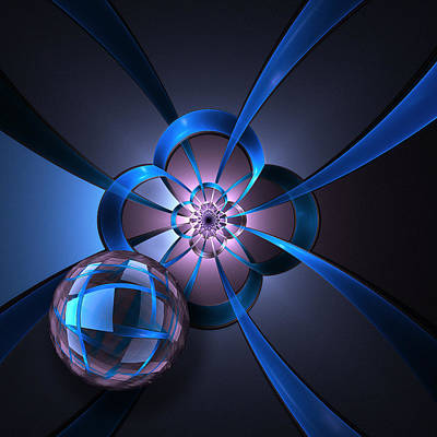 Flower Digital Art - Portal With Blue Glass Ball by Pam Blackstone