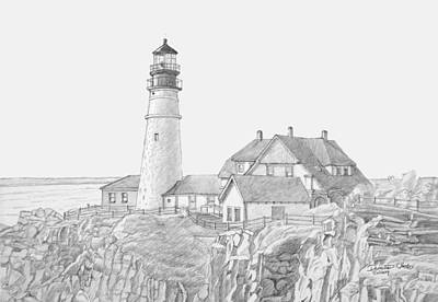 Portland Head Light Drawing Print by Dominic White