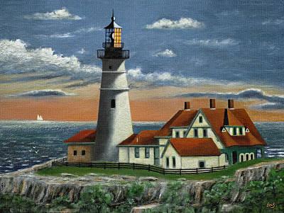 Maine Lighthouses Painting - Portland Head Light by Gordon Beck