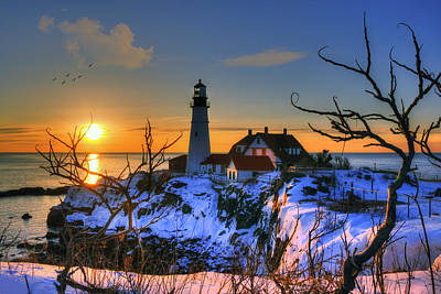 Winter In New England Photograph - Portland Head Light Sunrise - Maine by Joann Vitali