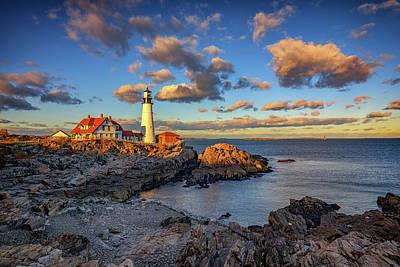 Rugged Coastline Photograph - Portland Head Lighthouse At Sunset by Rick Berk