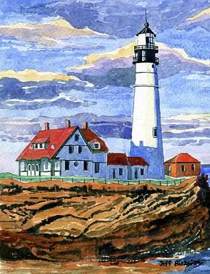 New England Lighthouse Painting - Portland Head Lighthouse, Cape Elizabeth, Maine by Jeff Blazejovsky