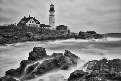 Portland Head Monochrome Print by Darren White