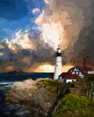 Red White And Blue Mixed Media - Portland Lighthouse In A Storm by Georgiana Romanovna