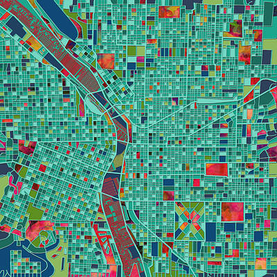 Abstract Map Digital Art - Portland Map  by Bekim Art