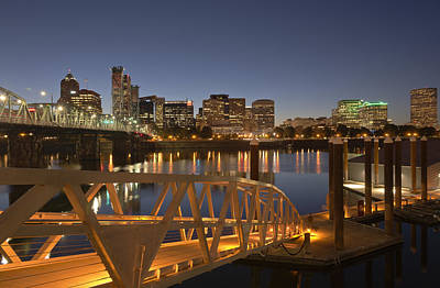 Downtown Area Photograph - Portland Oregon Akyline And River At Twilight. by Gino Rigucci