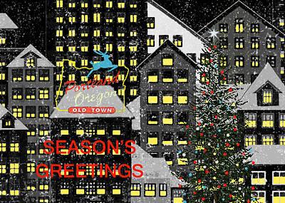 Portland Oregon Christmas 1 Print by Robert Todd