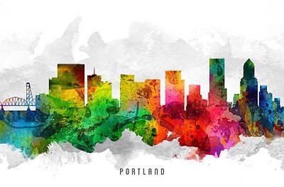 Portland Oregon Cityscape 12 Print by Aged Pixel