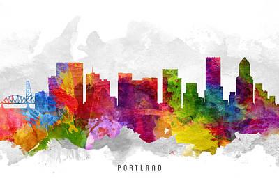 Portland Oregon Cityscape 13 Print by Aged Pixel
