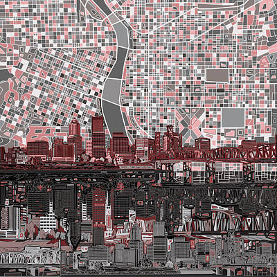 Portland Skyline Abstract 8 Print by Bekim Art