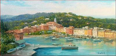 Portofino Beach Painting - Portofino Seascape - Italy by Antonietta Varallo