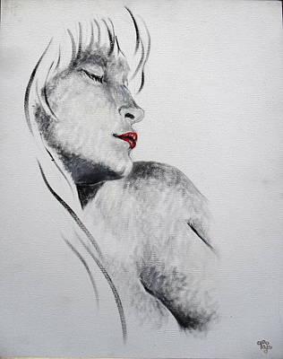 Lip Stick Painting - Portrait 145 by Mohd Raza-ul Karim