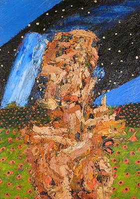 One Stroke Painting - Portrait In Landscape With Stars by JC Armbruster