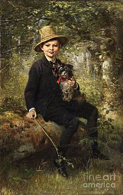 Portrait Of A Boy With A Dog In A Forest. Print by Celestial Images