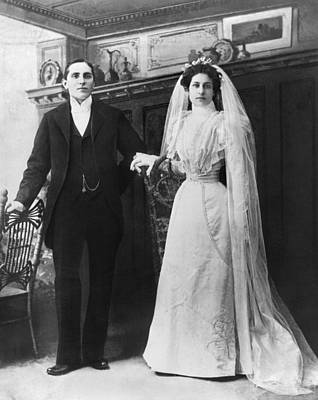 Portrait Of A Bride And Groom Print by Underwood Archives