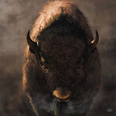 Western Themed Digital Art - Portrait Of A Buffalo by Daniel Eskridge