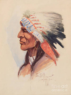 Headdress Painting - Portrait Of A Chief by Celestial Images