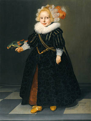 Dirck Van Santvoort Painting - Portrait Of A Child by Attributed to Dirck Dircksz van Santvoort