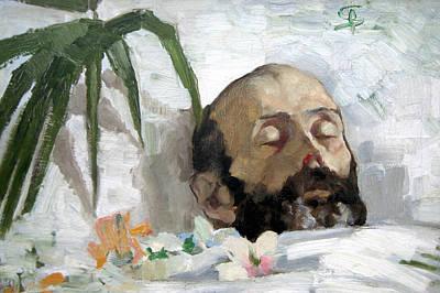 Portrait Of A Dead Man Print by Giovanni Segantini