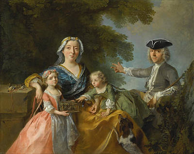 Painting - Portrait Of A Family Traditionally Identified As Mr And Mrs Saint-martin With Their Two Children by Nicolas Lancret