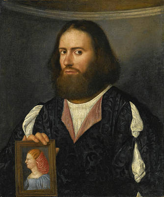 Painting - Portrait Of A Gentleman Half Length Holding A Portrait Of A Lady by Giovanni Cariani