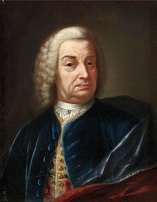 Portrait Of A Gentleman Half Length Wearing A Wig And A Blue Velvet Cape Print by Attributed to Bartolomeo Nazari