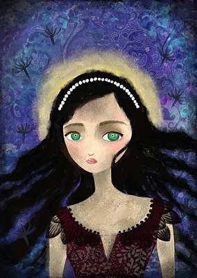 Ipad Design Painting - Portrait Of A Girl In A Forest During The Full Moon by Yazmin Basa